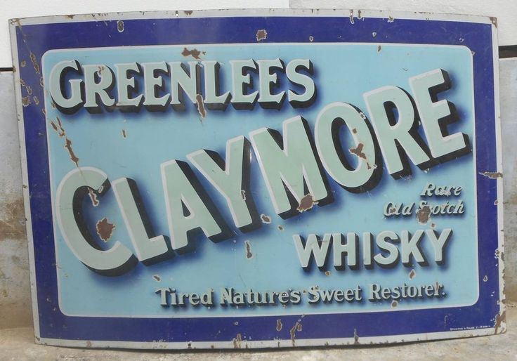 Vtg Enamel Sign Greenlees Claymore Old Scotch Whisky by Stainton & Hulme Ltd