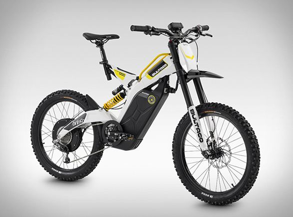 The Bultaco Brinco is a pure off-road electric bike that fuses the adrenaline provided by its electric power, and the physical experience of independent pedaling. The Brinco R Moto-Bike is powered by a 2000 watt, rear hub mounted motor, and features