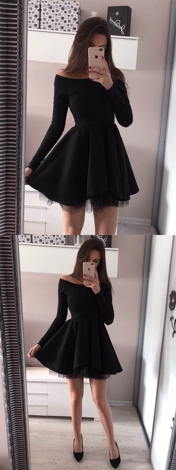 Off-the-Shoulder Long Sleeves Black Tulle Homecoming Dress,Short Prom Dresses,BDY0344 Off-the-Shoulder Long Sleeves Black Tulle Homecoming Dress,Short Prom Dresses,BDY0344 3