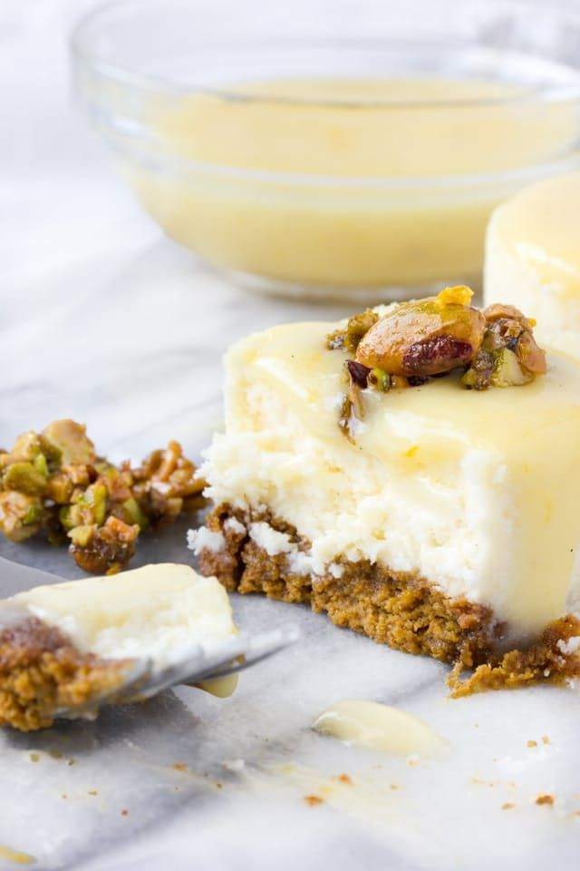 Recipe: Goat Cheese, Honey & Pistachio Mini Cheesecakes with Meyer ...