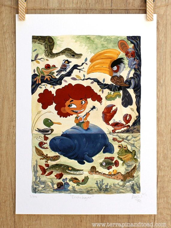 On the bayou Fine Art Print Animal illustration by #TerrapinAndToad #kidsroom