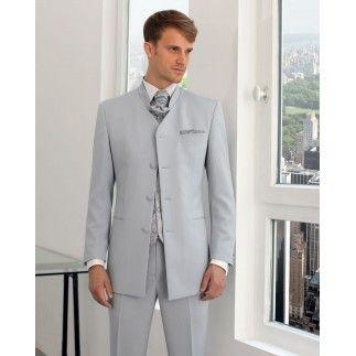 Costume homme col officier gris clair carlo 140 morelle mariage wedding pinterest - Costume homme gris clair ...