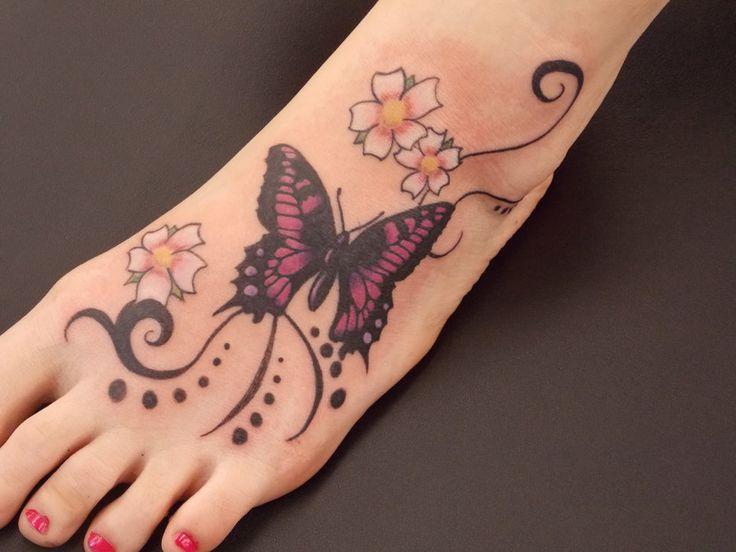 25 Cute Butterfly Foot Tattoo Design Ideas For Girls