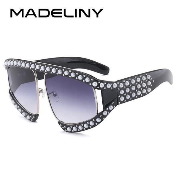 #FASHION #NEW MADELINY Fashion Oversized Women Sunglasses 2018 New Pearl Rivet Sunglasses Vintage For Female Eyewear Oculos De Sol MA085