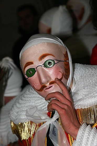 Carnaval de Binche (The mask may only be worn of the morning of Mardi Gras and is exclusive for Binche.)
