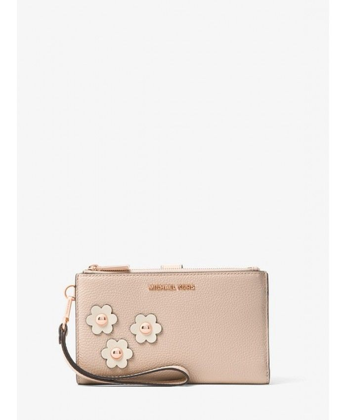 219352fa7cbe Michael Kors Adele Floral Appliqué Leather Smartphone Wristlet - Soft  Pink/Leather Cream - MK265BG