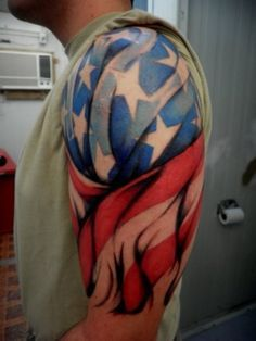 United States of America flag stars and stripes red white blue tattoo