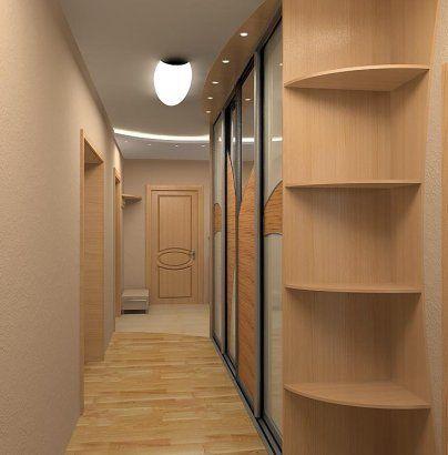 Классический вариант расположения  шкафа купе вдоль стены прихожей комнаты