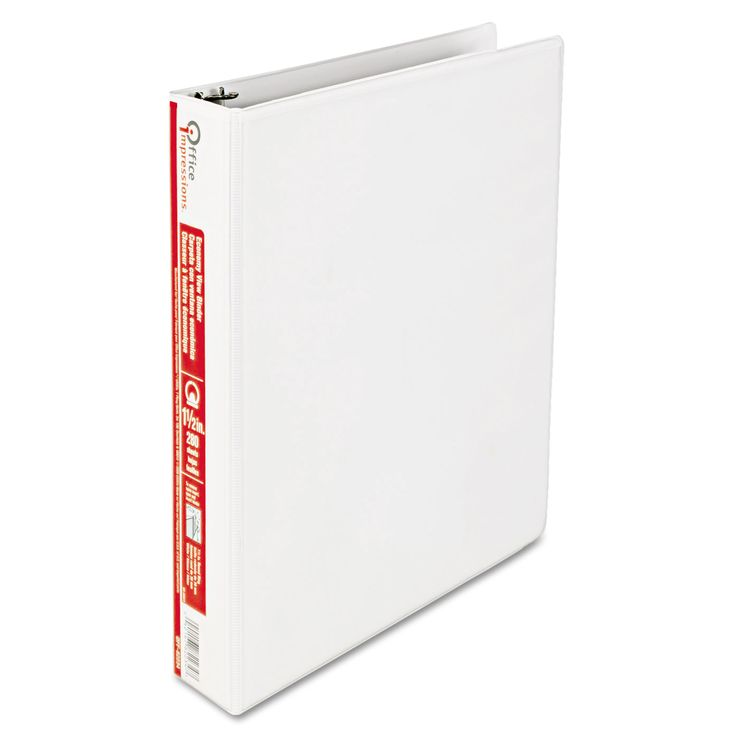 Office Impressions View Binder Round Ring 1-1/2 inch White 6pk