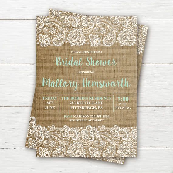 Burlap Lace Rustic Bridal Shower Invitation, Shabby Chic Bridal Shower Invitation, Rustic Baby Shower Invitation, Custom (Printable)