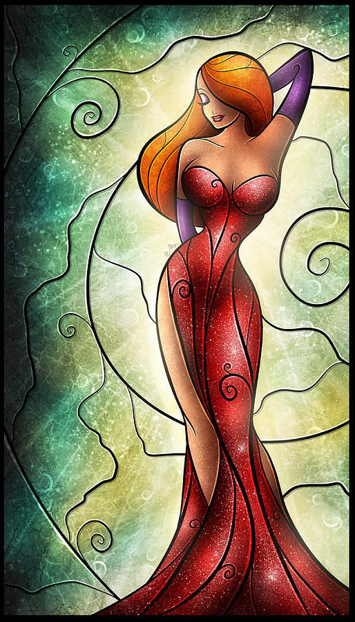 Obsessed with this Jessica Rabbit stained glass piece. So beautiful.