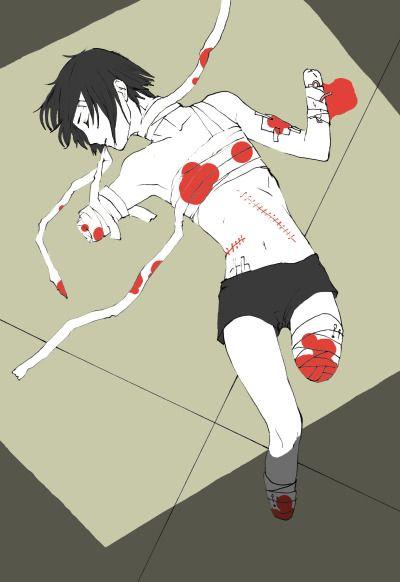 Bloody Abused anime boy Guro Amputation