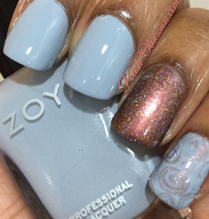zoya nail polish, Zoya Kristen swatch, blue nail polish, Monday nail Blues nail polish blogger, Nubar nail polish, Nubar Jewel swatch, UberChic 5-01 stamping plate, stamping nail art, Polish Obsession, marijonails