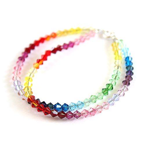 Double rainbow bracelet made of Swarovski sparkling crystals.