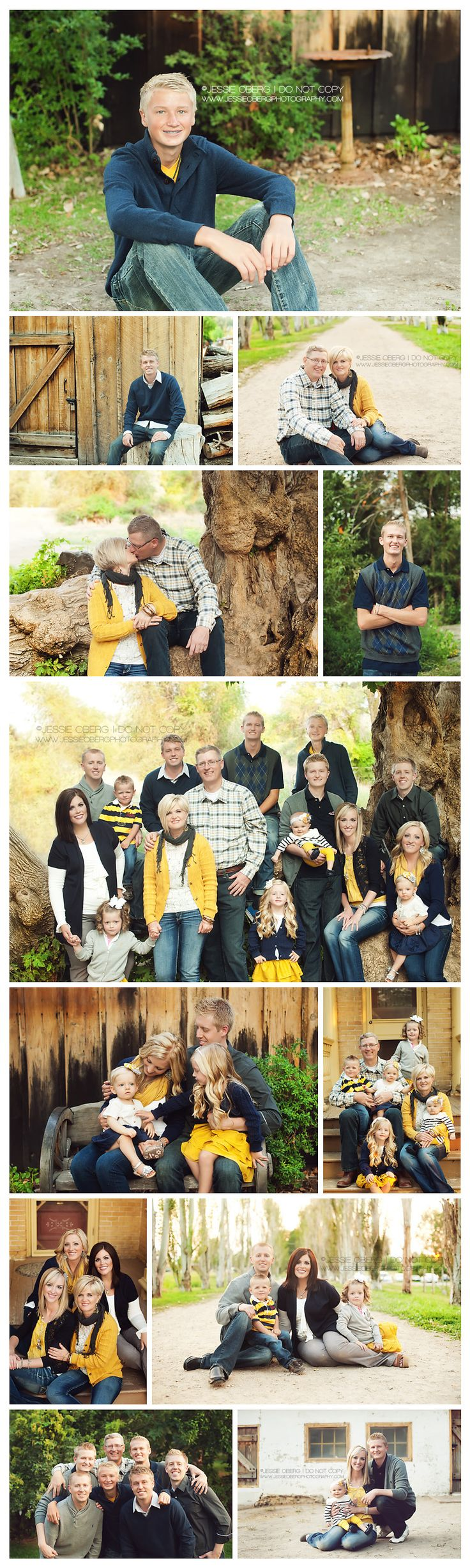 example of color pop in group photos...a great alternative to white t's and jeans or khakis worn with navy shirts.