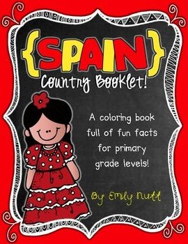 """This """"All About Spain"""" booklet can be used for a very basic country study in lower elementary grades!  Just print out the pages, have kids cut along the center dotted line, stack the small pages on top of each other and staple together! All clip-art is in an outline format so that it's ready to be colored like a mini-coloring book."""