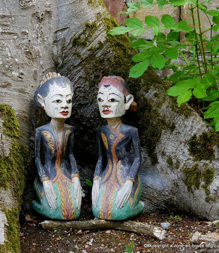 Loro Blonyo Figurenset, bemalte Holzfigur, Asia Art, Hochzeitsfiguren, Geschenk, Deko, von a-zone-art-house.de