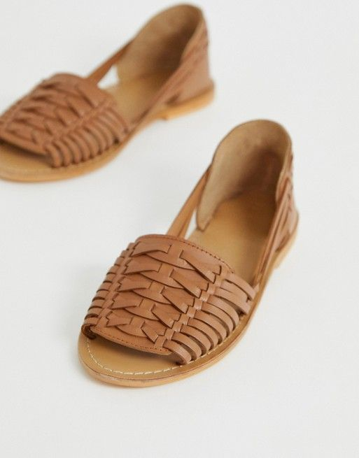 31a216125d6ef DESIGN Fran leather woven flat sandals in 2019   omg shoes   Leather ...
