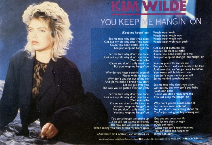 You keep me hangin' on - Taken from: Smash Hits (UK)