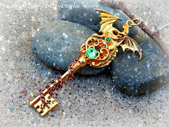 Peridot Dragon Lord Fantasy Key Pendant / Handmade OOAK Gold Fashion Costume Jewelry / Cosplay ...