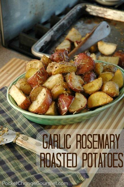 Garlic Rosemary Roasted Potatoes Recipe :: PocketChangeGourmet.com