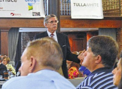 ewis O. Powell IV | Daily News Steve Dolinger, President of the Georgfia Partnership for Excellence in Education, gives a presentation, 'The Economics of Education,' at the LaGrange-Troup County Chamber of Commerce Early Bird Breakfast on Tuesday.