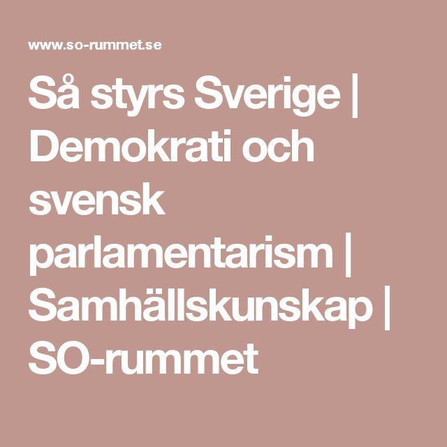 Så styrs Sverige | Demokrati och svensk parlamentarism | Samhällskunskap | SO-rummet