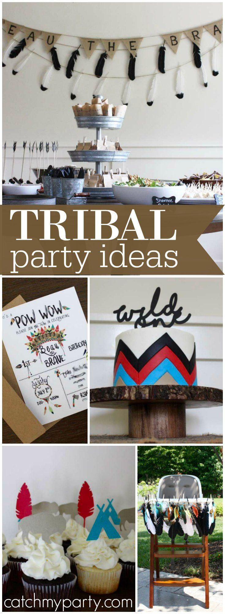 This tribal themed pow-wow is perfect for a first birthday! See more party ideas at Catchmyparty.com!