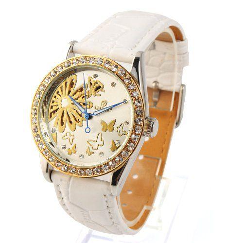 YESURPRISE Automatikuhr Automatik Armbanduhr Skelett mechanische Uhr Leder weiß gold - http://on-line-kaufen.de/yesurprise/yesurprise-automatikuhr-automatik-armbanduhr