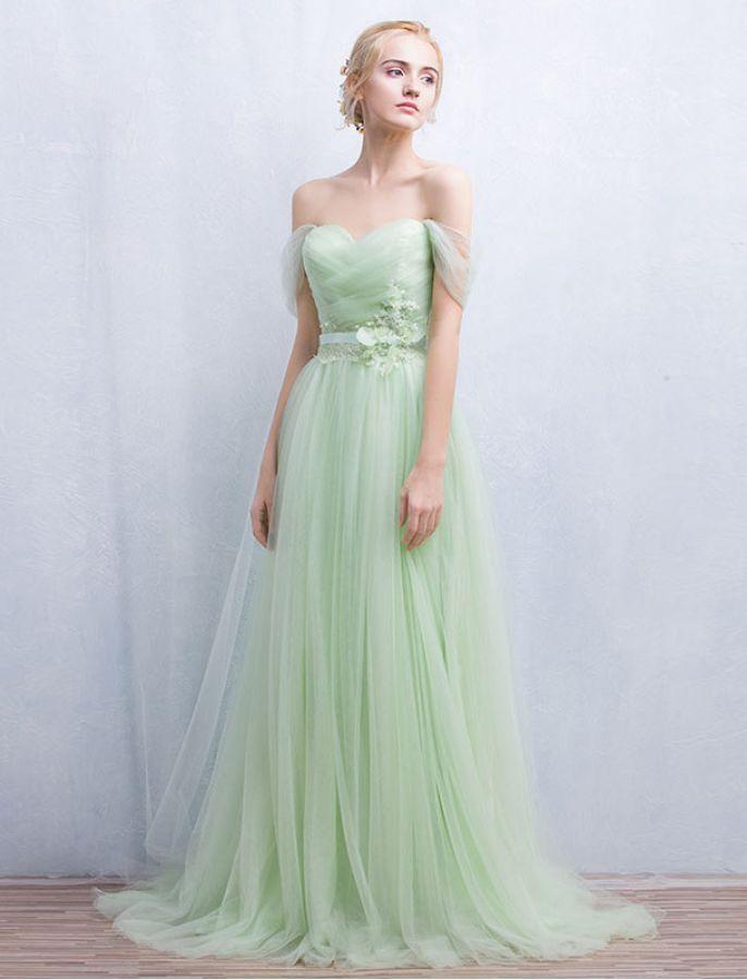 1950s Style Off Shoulder Elegant Prom Dress  nice bridesmaid dress for vintage wedding