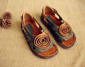 Handmade Women's Leather Hollow Sandals, Leather Shoes, Flat Shoes, Summer Shoes Sandals for Women