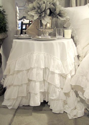 Pom Pom at Home Audrey Tablecloth.: Decor, Pom Poms, Ruffled Tablecloth, Shabby Chic, Table Skirt, Audrey Tablecloth, Tablecloths, Linens Audrey