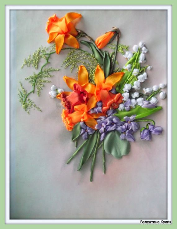 Violets, lilies of the valley and dafodills #ribbonEmbroidery
