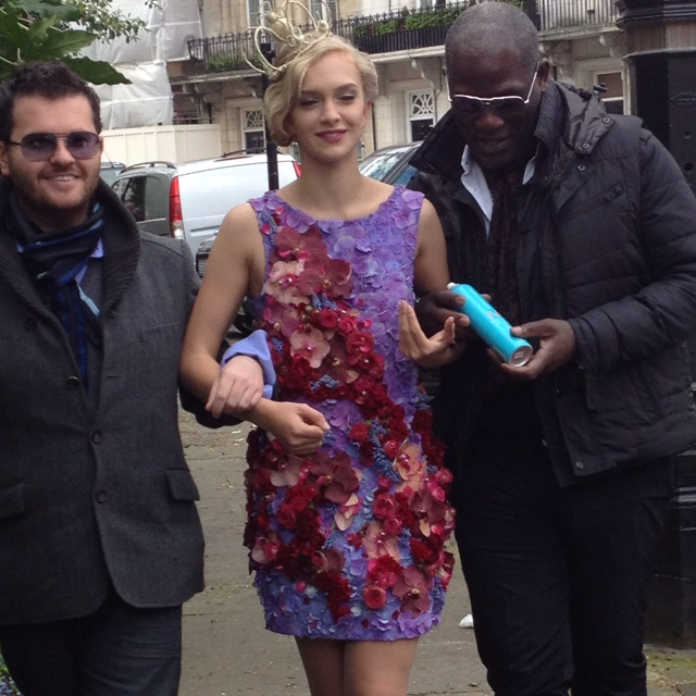 """Off to shoot """"Dressing Royally"""" Floral Couture fashioned into a gown, hair crowns, Neill Strain and Errol Douglas MBE. Magic makers. Utterly brilliant!"""
