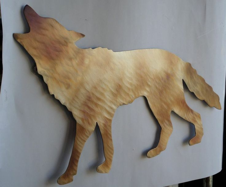 Metal Wall Decor Animals : Hand made heat torch colored metal coyote home decor lodge