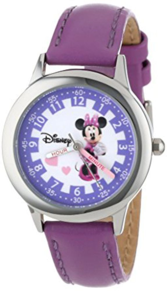 The model number is W000039. Round Time Teacher Stainless Steel Watch with Minnie Mouse character on dial. This classic watch has a polished and matte steel finish and a precision Japanese movement for accurate time keeping. | eBay!