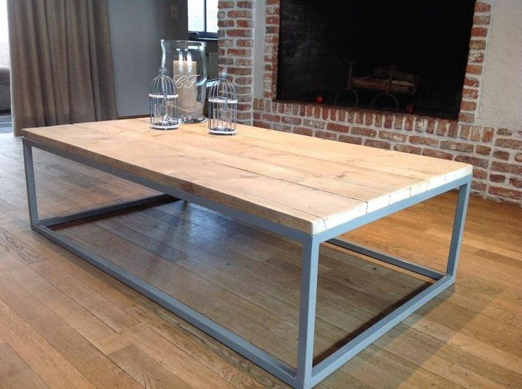 PURE industriele salontafel steigerhout/stalen onderstel gesloten