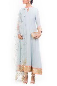 Georgette Party Wear Anarkali Suit In Grey Colour