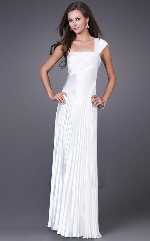 La Femme 12158 One Shoulder White Pleated Prom Night Dress Online Sale
