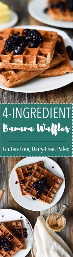 4 Ingredient almond butter banana waffles are flourless, dairy free and paleo!