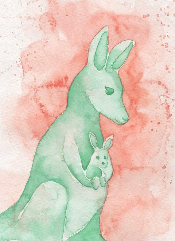Kangaroo Mom And Baby Coral And Mint Print Nursery Print