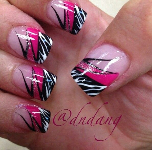 random french manicure pink base, hot pink, black, white zebra lines, silver glitter