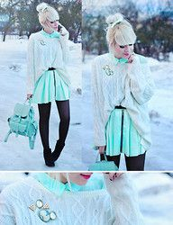 Skirt, Mint Bag, Oversized Sweater, Brooches