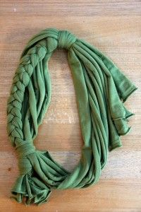 List of scarves you can make from old t-shirts.  Cute!