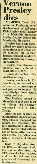 Vernon Elvis Presley Obituary -