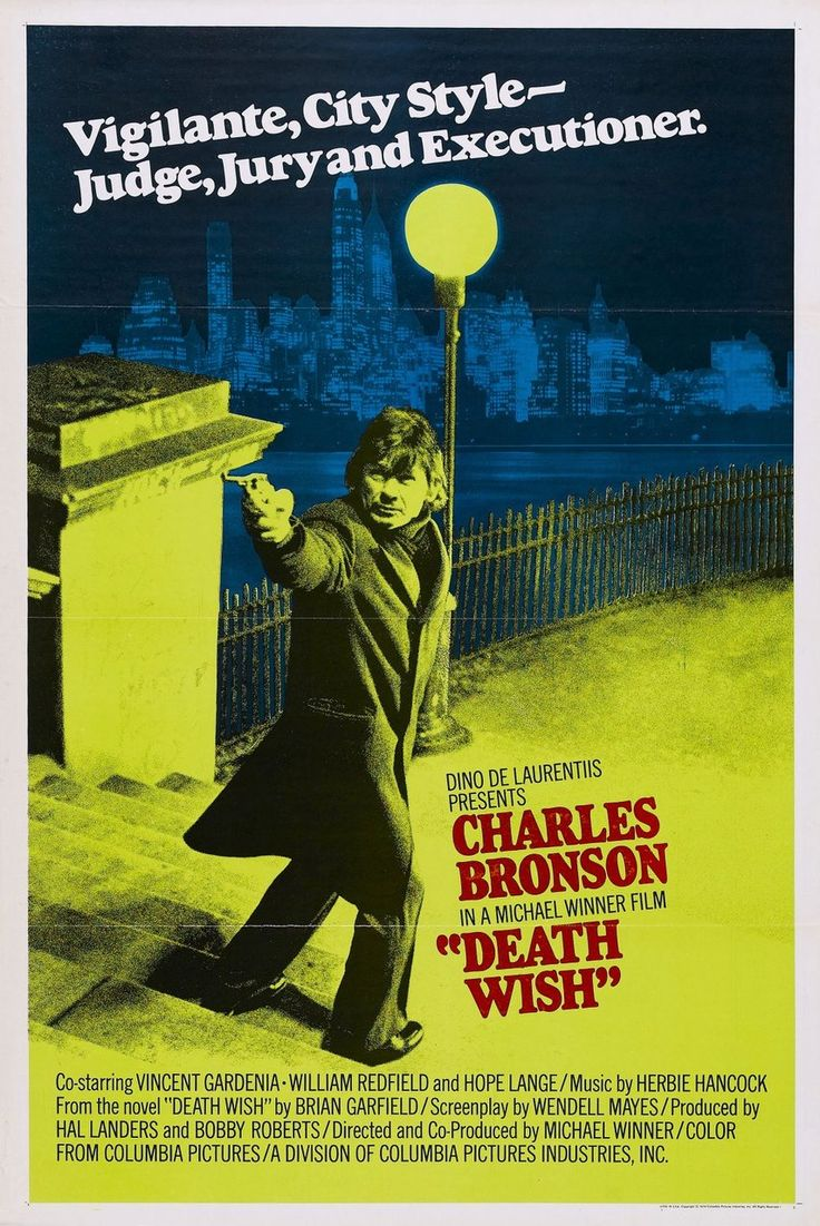Death Wish (1974) A New York City architect becomes a one-man vigilante squad after his wife is murdered by street punks in which he randomly goes out and kills would-be muggers on the mean streets after dar..Charles Bronson, Hope Lange, Vincent Gardenia...1b