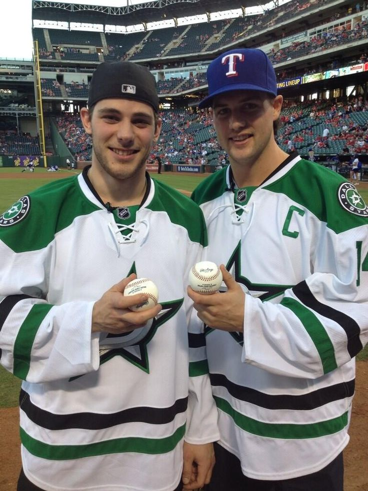 Dallas Stars's Captain Jamie Benn and Tyler Seguin after first pitch at Texas Rangers vs Houston Astros 9/25/13