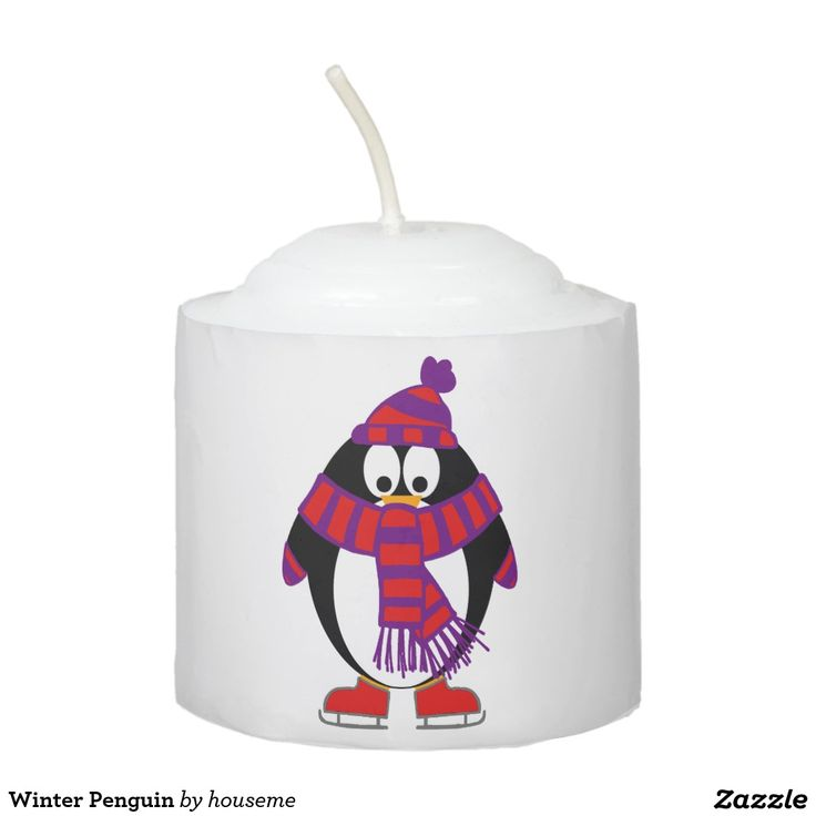 Winter Penguin Votive Candle