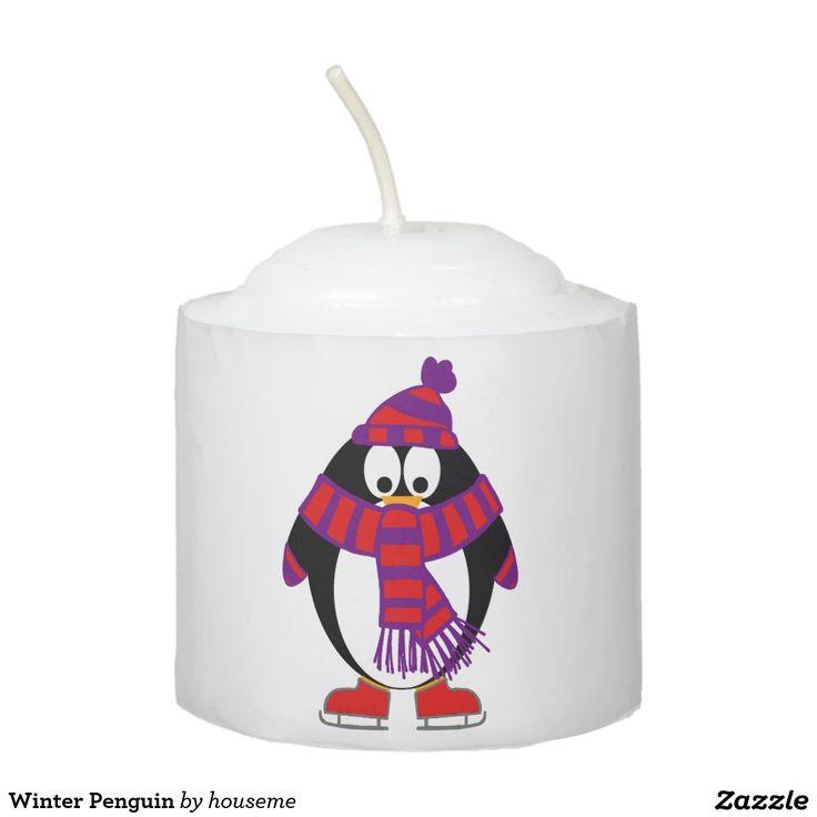 Winter Penguin Votive Candle