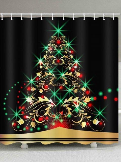 Fluorescent Christmas Tree Print Bathroom Shower Curtains